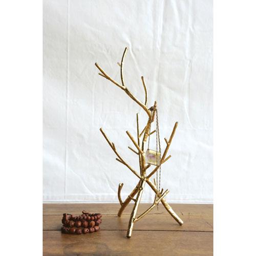 Gold Metal Twig Jewelry Holder