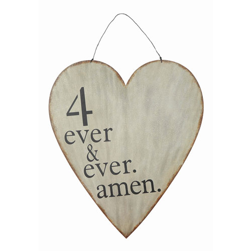 4 Ever and Ever Amen Metal Heart Wall Plaque