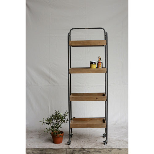 Metal Four-Tier Rack with Wood Shelves on Casters