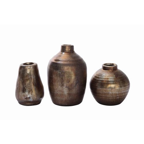 3r Studio Metallic Terracotta Vases Set Of Three Da4489 Bellacor