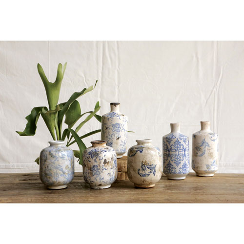 Short Blue and White Terracotta Vase with Transferware, Set of Three