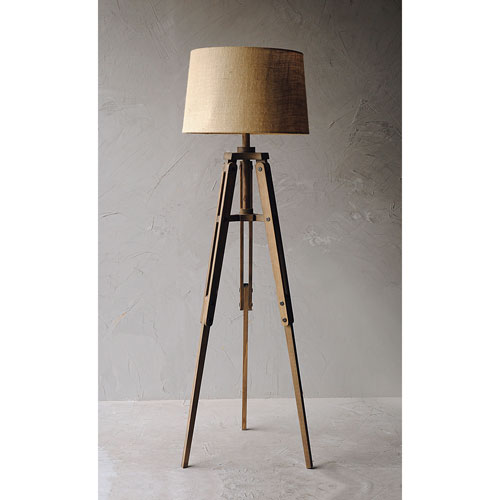 3r Studio Mariner Wood Tripod Floor Lamp