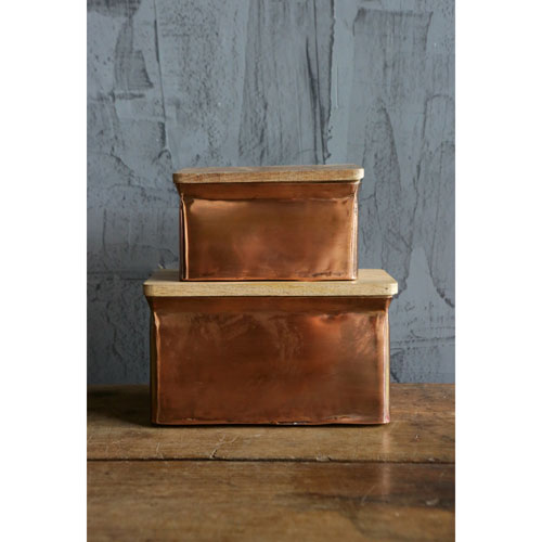 3R Studio Copper Iron Boxes with Wood Lid