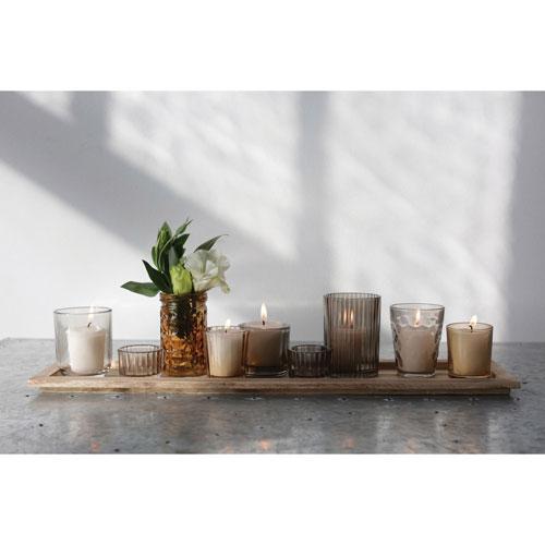 3R Studio Wood Tray with Nine Glass Votive Holders, Set of Ten