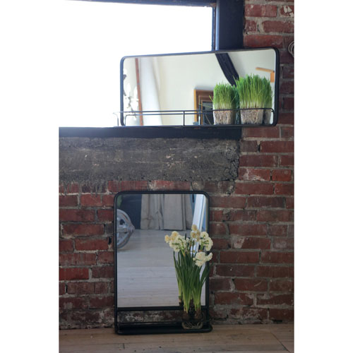 Rectangular Metal 36 x 16 In. Framed Mirror with Shelf