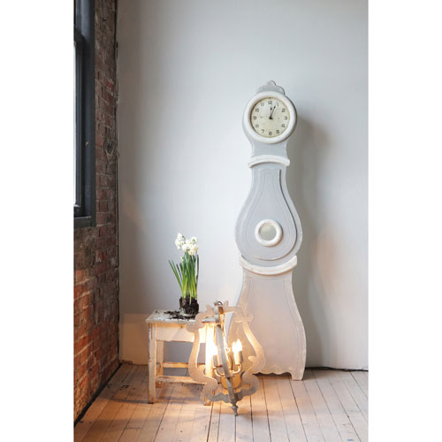 Gray and White 75.5 In. Wood Clock