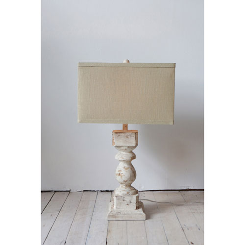 Cream Wood and Metal Table Lamp