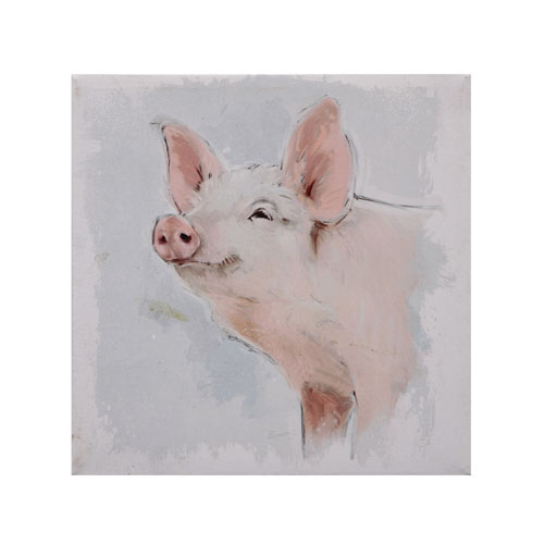 3r Studio Pig 18 In Square Canvas Wall Décor