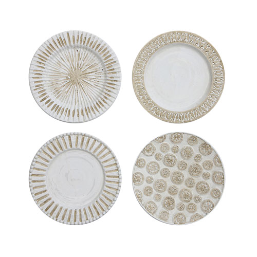 White Round Ceramic Wall Plate with Hanger, Set of Four