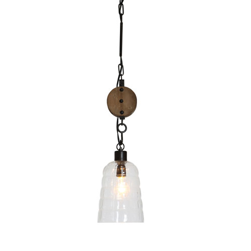 3R Studio Round 7 In. Glass Hanging Pendant Lamp with Wood Pulley