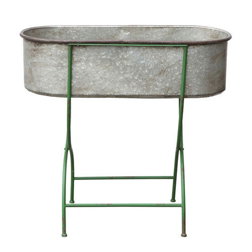 Metal Stand with Trough Style Bucket/Planter