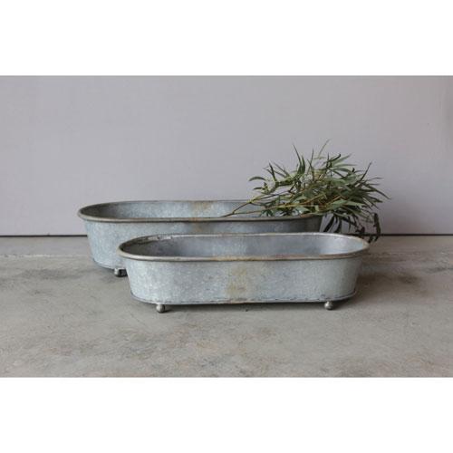 Tin Planter, Set of Two