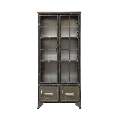 Distressed Black Metal Cabinet with Four Doors
