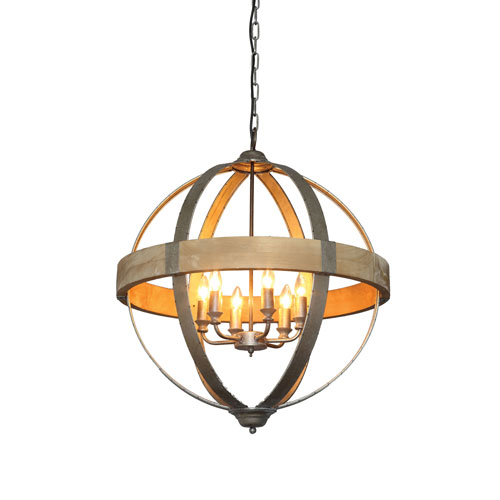 Round Metal and Wood Six-Light Pendant