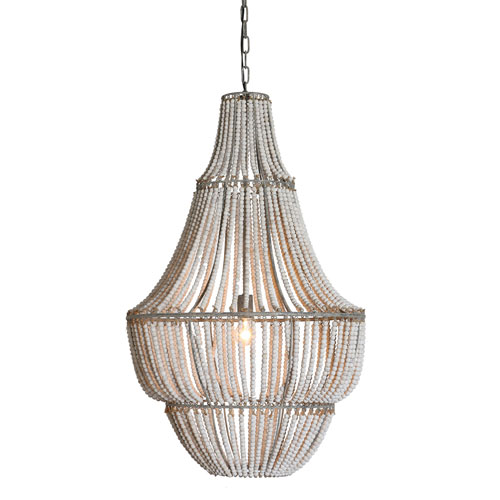 3r Studio White Wash One Light Metal And Wood Bead Chandelier