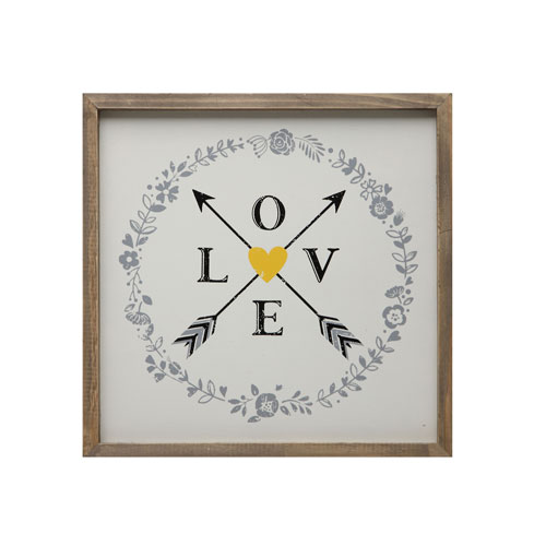 Love and Arrows 14 In. Square Wall Art with Wood Frame