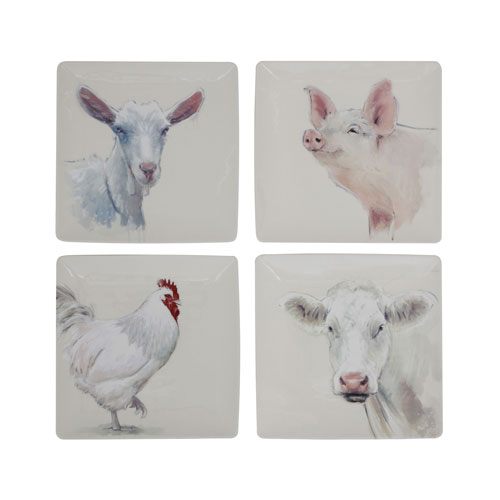 Farm Animal 11 In. Square Plate, Set of Four