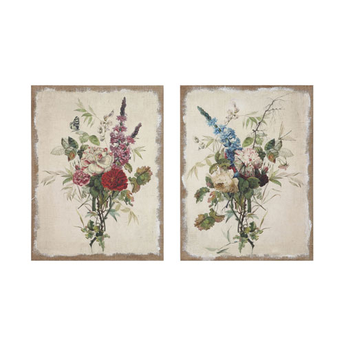 3R Studio Linen Flower with Wood Frame, Set of Two