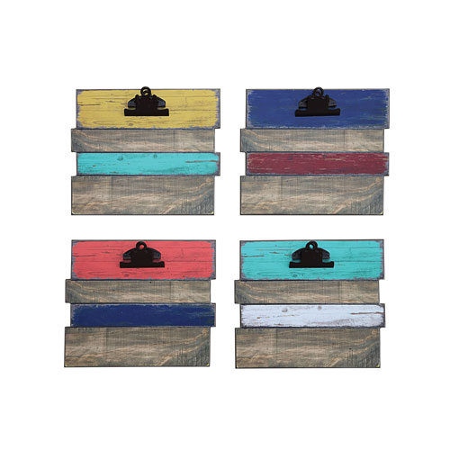 Multicolor Wall Plaque with Clips, Set of Four