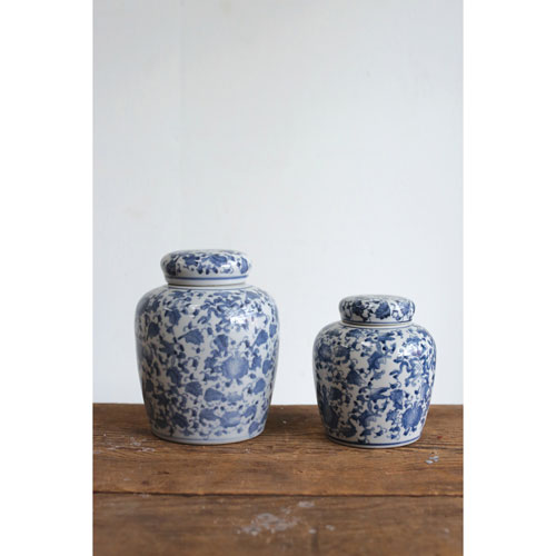 Tall Blue and White Ceramic Ginger Jar with Lid