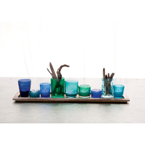 Wood Tray Nine Glass Votive Holders, Set of Ten
