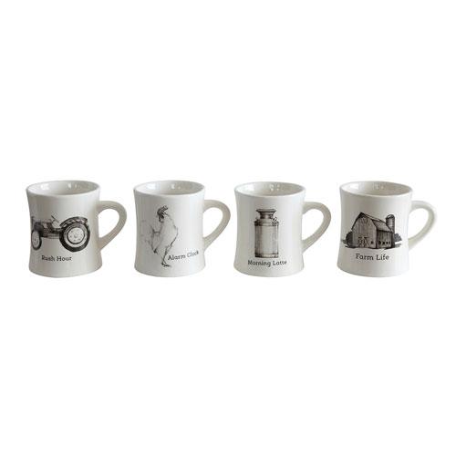 3R Studio Farm Decal Ceramic Mugs, Set of Four