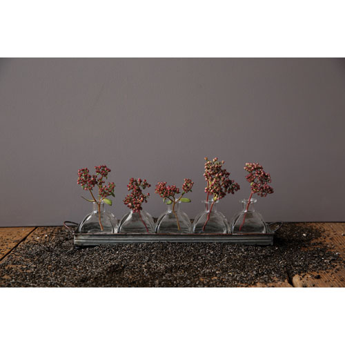 Decorative Iron Tray with Five Glass Vases