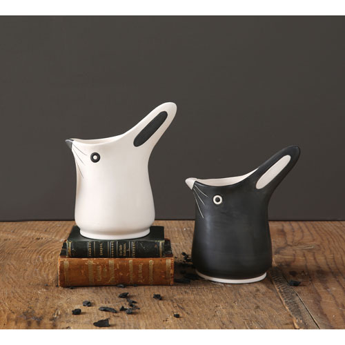 3R Studio Black and White Bunny Shaped Pitcher, Set of Two