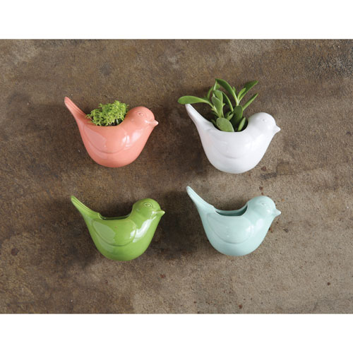 Assorted Bird Shape Vase with Magnets, Set of Four