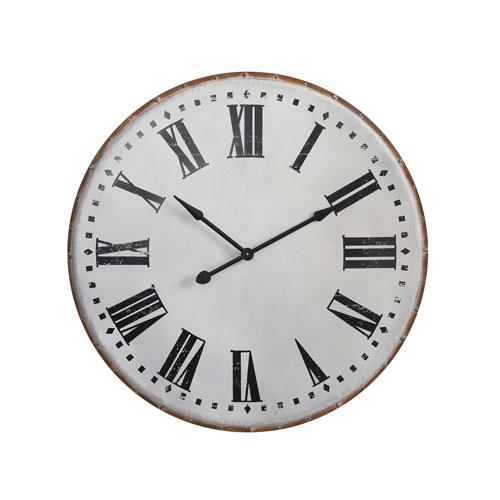 3R Studio White Round Metal Wall Clock
