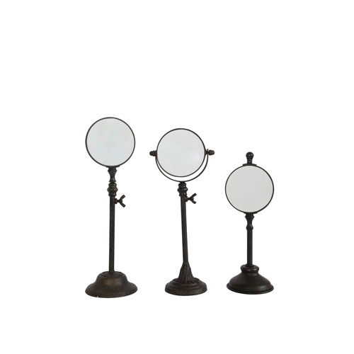 Metal Magnifying Glass On Stand, Set of Three