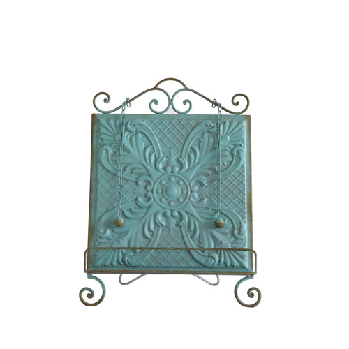 Aqua Embossed Tin Book Holder