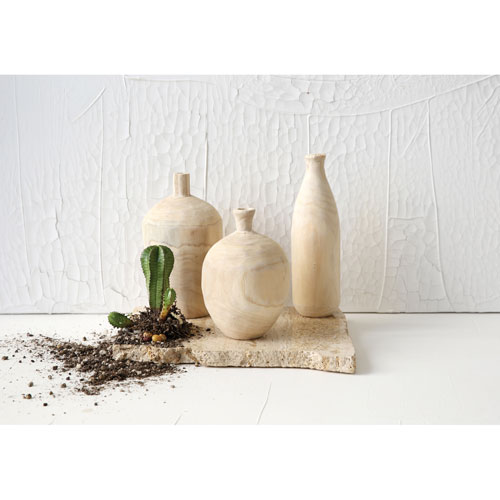 Paulownia Wood Vase, Set of Three