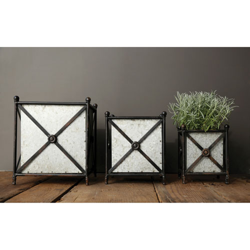 Square Metal Flower Boxes with Stands, Set of Three