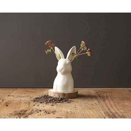 3R Studio Matte White Ceramic Rabbit Vase