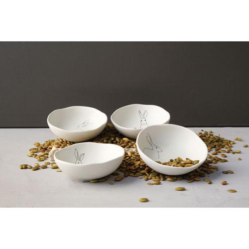 Round Stoneware Bowl with Rabbit, Set of Four