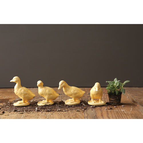 Yellow Ceramic Duckling Figurine, Set of Four