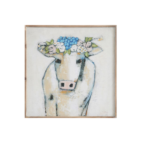 3R Studio Cow and Flowers 20 In. Wood Wall Décor