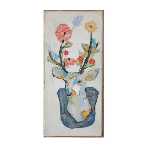 3R Studio Deer and Flowers Wood Wall Décor