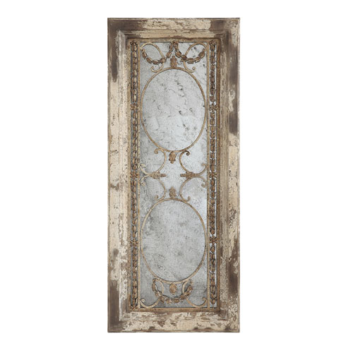Rectangular Pine Wood and Metal Framed Antiqued Mirror