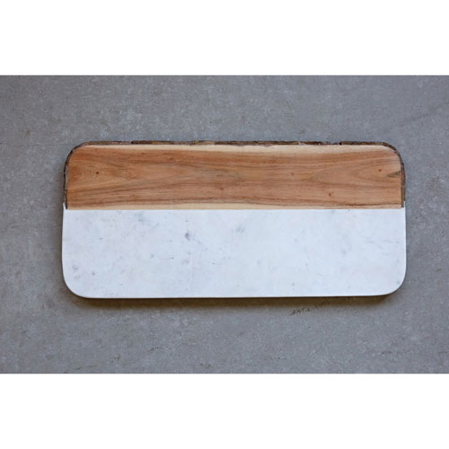 3R Studio Mango Wood and Marble Oval Cheese Board