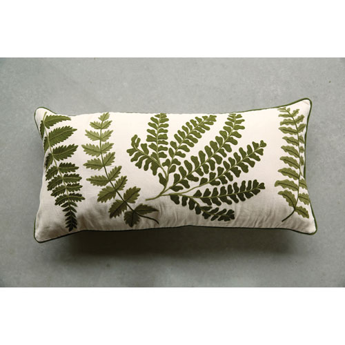 3R Studio Embroidered and Printed 15 x 32 In. Fern Pillow