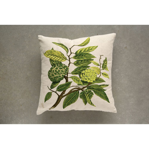 3R Studio Embroidered 18 In. Printed Pillow Branch with Leaves