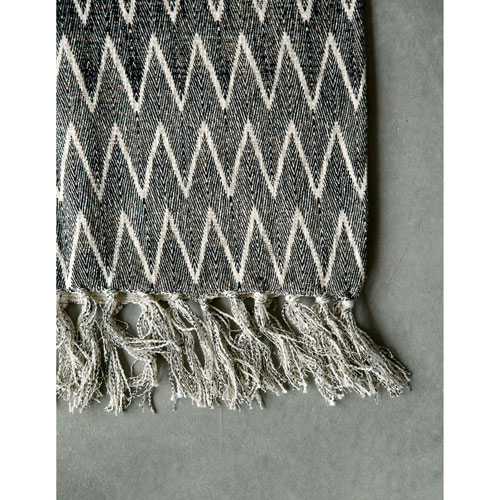 Natural and Black Cotton Throw