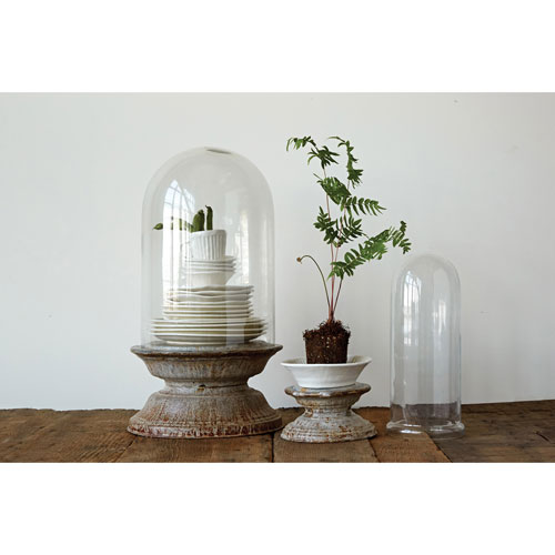 3R Studio Tall Zinc Glass Cloche, Set of Tow