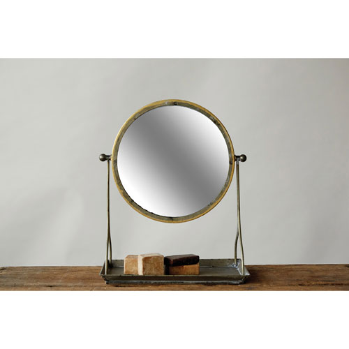Distressed Round Metal Mirror on Stand
