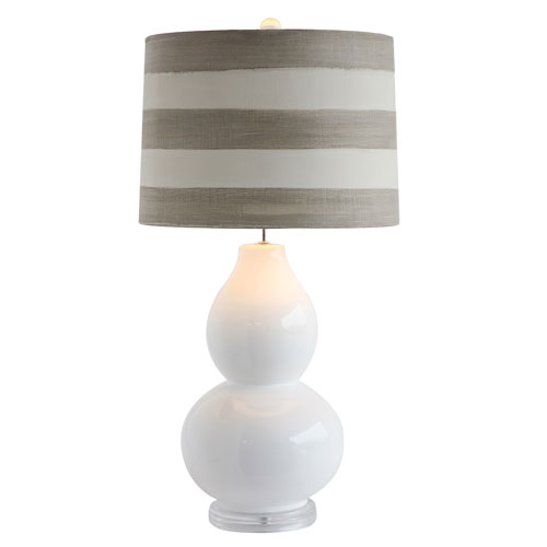 3R Studio White and Gray Ceramic Table Lamp with Shade