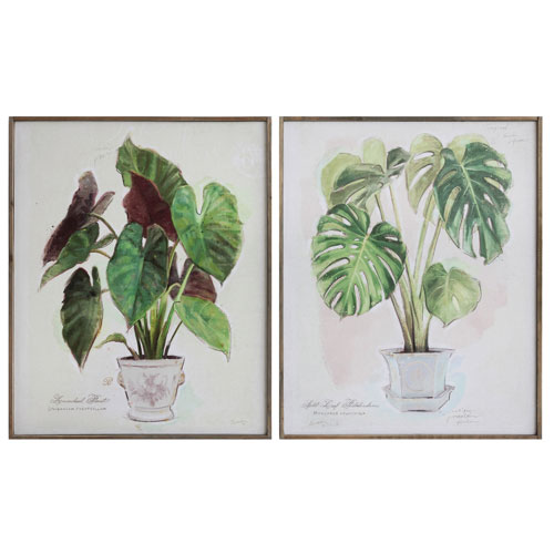 3R Studio Plant 32 In. Canvas Wall Plaque, Set of Two