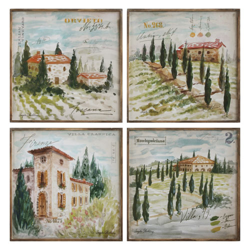 Country Side 20 In. Canvas Wall Plaque, Set of Four
