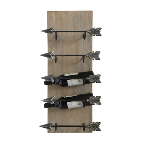 3R Studio Black Wood Frame with Metal Arrow Wine Holder